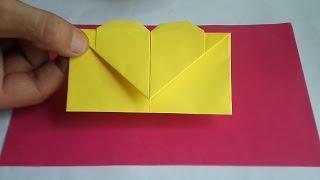 оригами конверт с сердечком, как сделать оригами конверт //  origami envelope