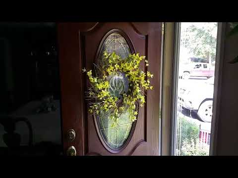 How to hang a wreath on a glass door.