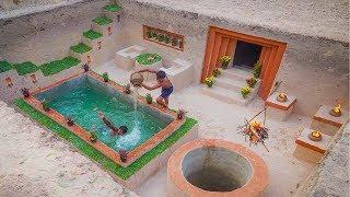 Amazing Building Skills! Build The Most Beautiful Underground Swimming Pool and Underground House