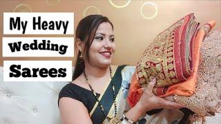 Heavy Wedding Sarees Collection। Heavy Work Designer Sarees। Wedding Sarees For Bride। Adhira Vlogs