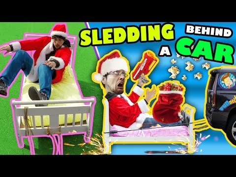 BED SLEDDING BEHIND A CAR + Unlimited POPCORN Life Hack w/ Nerf Gun (FUNnel Vision Donate Vlog/Skit)