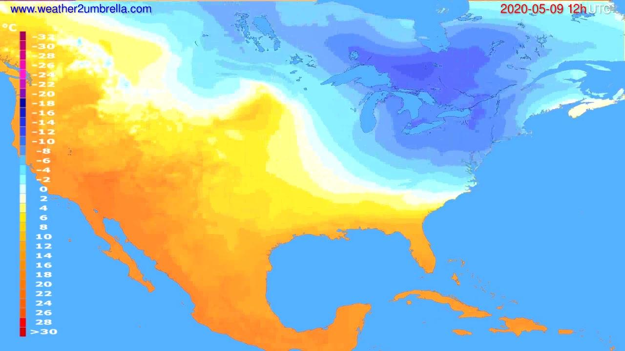 Temperature forecast USA & Canada // modelrun: 00h UTC 2020-05-09