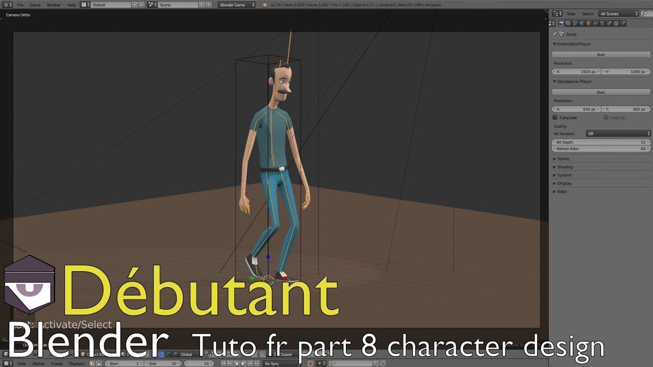"Tuto fr Blender part 8 character design ""Blender Game Engine"""