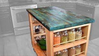 DIY Kitchen Island W/  Stained Shou Sugi Ban Tabletop