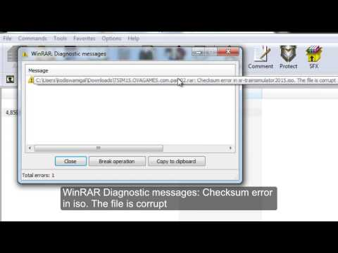 Video WinRAR Diagnostic messages: Checksum error in iso. The file is corrupt