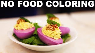 Purple deviled eggs — from Lazy Susan Tapas Bar