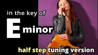 METAL BACKING TRACK ★ Half Step Tuning in Eb Minor ★ Melodic slow metal Em Guitar Backing Track