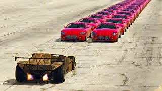 GTA 5 - CAN A RAMP CAR FLIP 100+ VEHICLES IN A ROW?