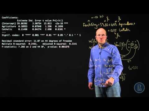 Уравнение линейной регрессии. Интерпретация стандартной таблички