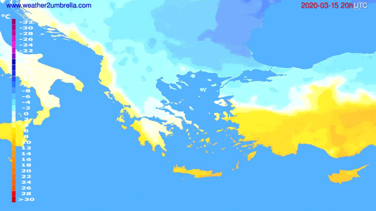 Temperature forecast Greece // modelrun: 12h UTC 2020-03-14