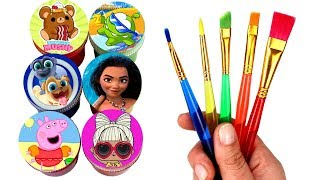 Drawing & Painting with Surprise Toys Moana Peppa Pig Puppy Dog Pals LOL Surprise Smooshy Mushy Toys