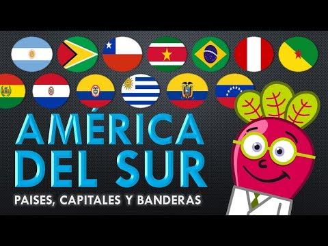 AMERICA DEL SUR 🌎 Paises Capitales Bandera Mapa Niños Primaria