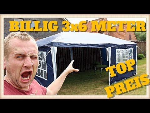 BILLIG Partyzelt Festzelt 3x6m blau Camping Vereinszelt Strand Faltpavillon