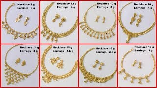 Simple And Light Weight Gold Necklace Designs With Weight And Matching  Earrings