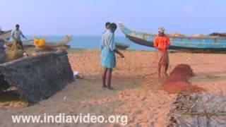 Fishing nets at Shankhumugham beach