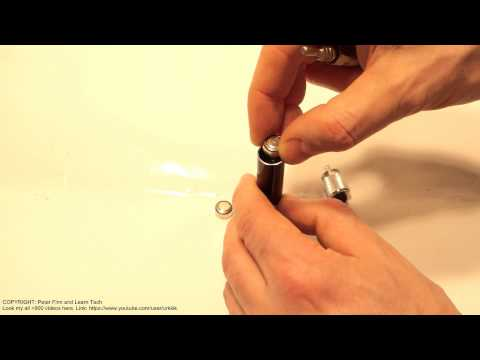 How to replace batteries to small led flashlight.