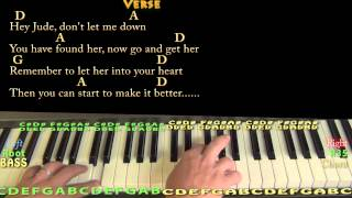 Gambar cover Hey Jude (The Beatles) Piano Cover Lesson in D with Chords/Lyrics