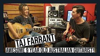 9 YEAR OLD GUITARIST TAJ FARRANT   INTERVIEW AND JAM!