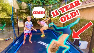 TRAMPOLINE CHALLENGE WITH GAVIN MAGNUS AND COCO QUINN!