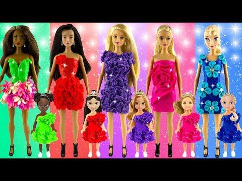 How to make glitter toy play doh dresses   Aurora Elsa Rapunzel   New design