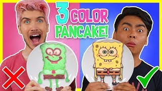 3 COLOR PANCAKE ART CHALLENGE! w/ Guava Juice - Video Youtube