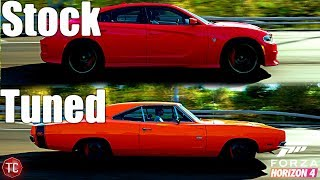 Forza Horizon 4: Stock vs Tuned! Dodge Charger Hellcat vs 1969 Dodge Charger R/T
