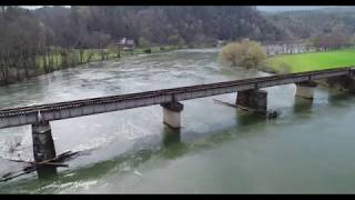 DJI Phantom 4 Pro Drone Footage of Hiwassee River, Webb's Store, Railroad Bridge