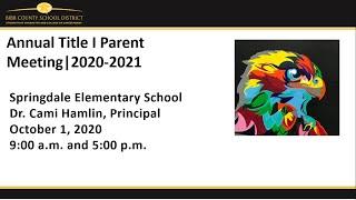 Springdale Annual Title 1 Presentation