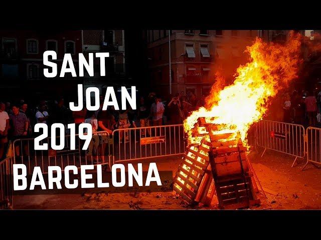 Sant Joan 2019 Barcelona | Llama del Canigó & Gigantes & Hoguera & Nit de Foc & Fuegos Artificiales