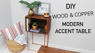 DIY WOOD CRATE & COPPER MODERN ACCENT TABLE || KATIE BOOKSER
