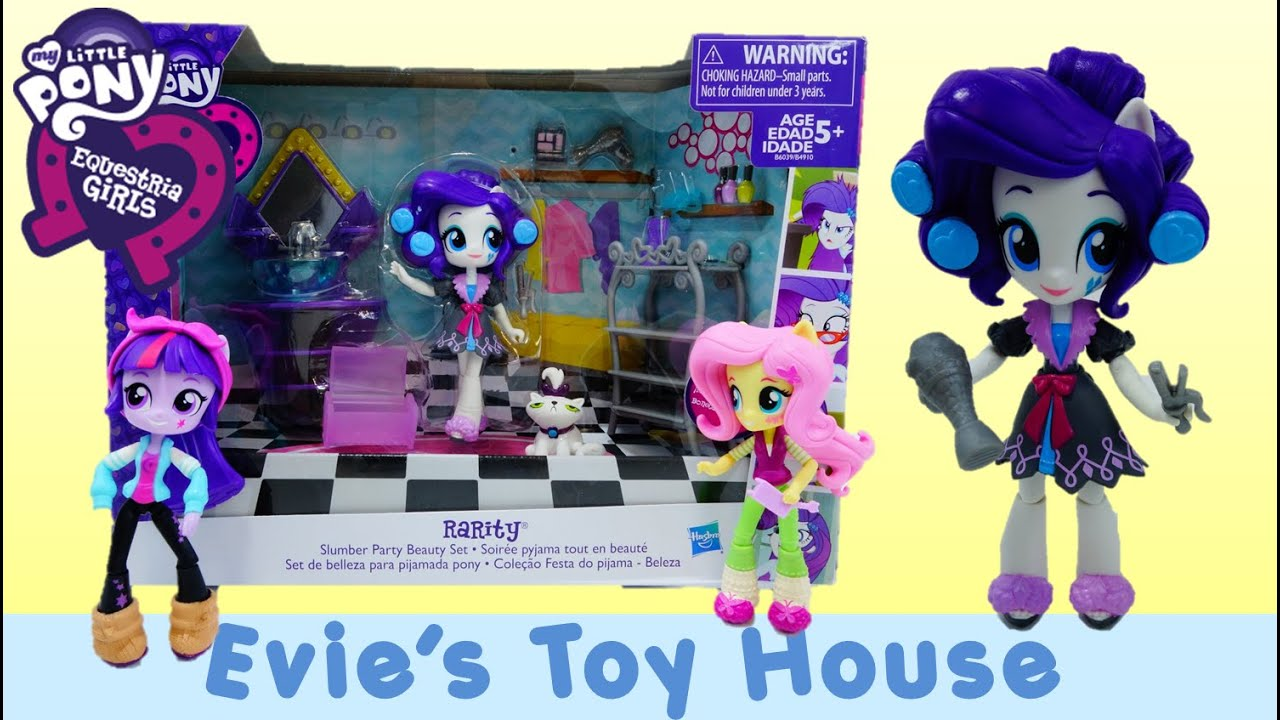 MLP Equestria Girls Minis Unboxing - Pinkie Pie's Slumber Party Rarity's Beauty Set| Evies Toy House