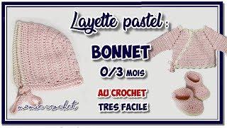 Comment Faire Un Bonnet Bébé Au Crochet 0/3 Mois Layette Pastel  Bonnet Baptême, Tuto  Pas à Pas