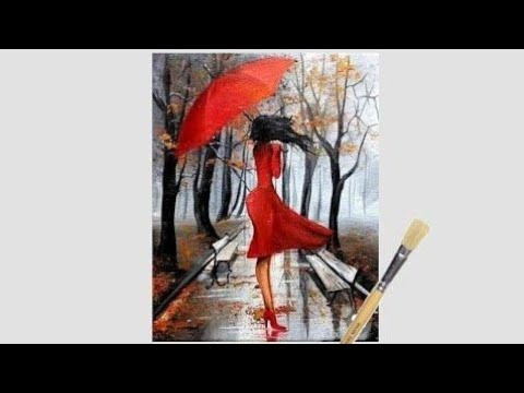 Easy Rainy season scenery drawing for beginners|| Green forest landscape scenery||girl with umbrella