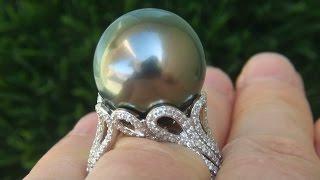 GIA Certified 18.09 MM Natural Tahitian South Sea Pearl Diamond PLATINUM Estate Ring - C795
