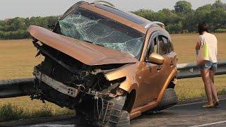 Тула. Мощное лобовое столкновение Ford и Infiniti на трассе М2. 13.08.2014