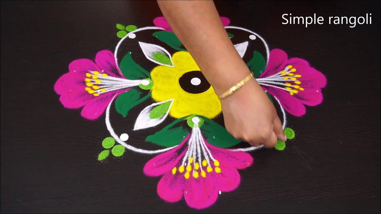 rangoli kolam design with 10*1 dots by simple rangoli