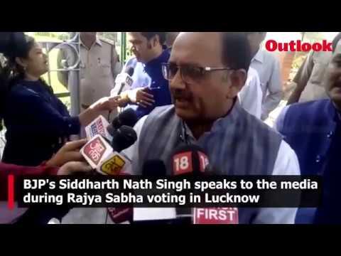BJP\s Siddharth Nath Singh during Rajya Sabha voting in Lucknow