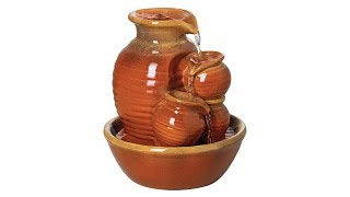 "Country Jar 9"" High Ceramic Table Fountain"