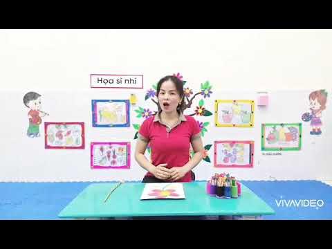 Hoạt động tạo hình: Vẽ bông hoa do cô Đào Thị Dinh giáo viên khối 3 tuổi thực hiện
