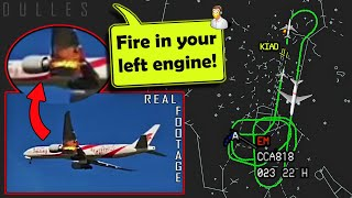 [REAL ATC] Air China has LEFT ENGINE FIRE ON TAKEOFF from Dulles!