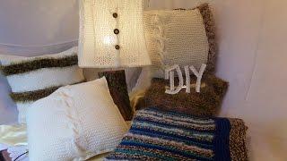 DIY:HOME KISSEN mit Zopf,  zum STRICKEN ,passend zur Lampe- HOME DEKO 3