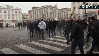 Protesters rally in Brussels against UN migration pact adoption