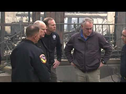 """U.S. Interior Secretary Ryan Zinke visits the aftermath of California's deadliest wildfire and says it's not the time to """"point fingers."""" (Nov. 14)"""