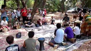 מעגל מתופפים בלאגנג'ה בקיבוץ אילון