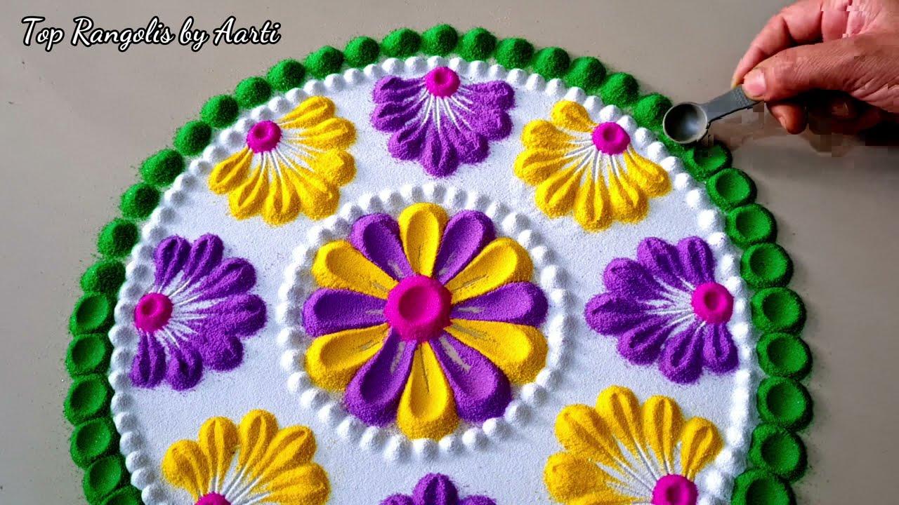 easy rangoli design with spoon holi festival rangoli design by top rangolis