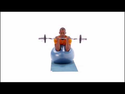 Swiss Ball EZ Bar Preacher Curl Exercise