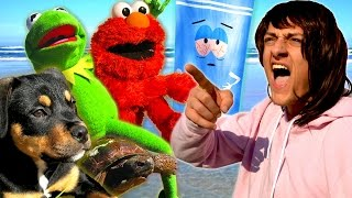 Angry Mom takes Kermit the Frog, Elmo, Towelie & Puppy to the Beach!