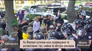 Газ, дубинки и драка: подробности столкновений активистов и охранников на Фонтане