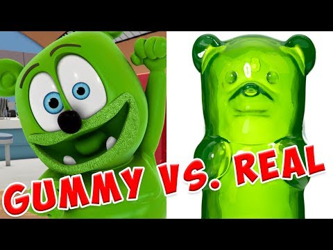 GUMMY vs. REAL FOOD - Gummy Bear Show MANIA - The Gummy Bear Song