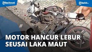 Motor Hancur Lebur seusai Kecelakaan di Prambanan Klaten, Pemotor Meninggal Seketika di Lokasi